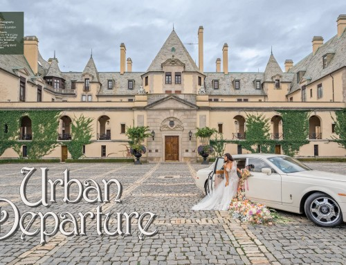 M&V Limousines Rolls-Royce featured in the Oheka Castle Photo shoot for the Sophisticated Weddings New York Edition Magazine